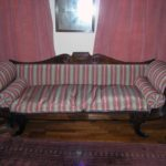 1820s silk scroll arm sofa