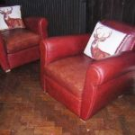 re-upholstered leather chairs